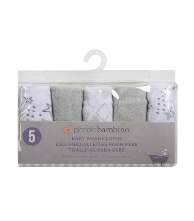 piccolo bambino gray washcloths in vinyl bag (pack of 5)