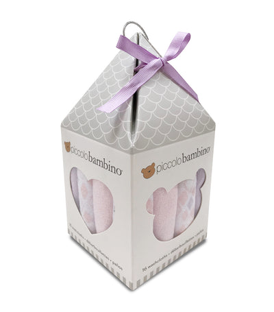 piccolo bambino pink washcloths in house gift box (pack of 16)