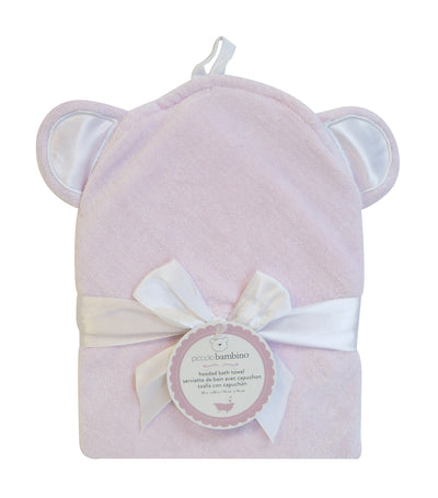 piccolo bambino pink hooded terry velour towel