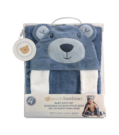 piccolo bambino blue bear 4-piece baby cuddle bath set