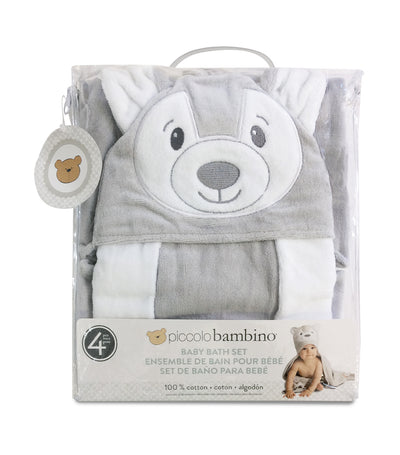 piccolo bambino gray sheep 4-piece baby cuddle bath set