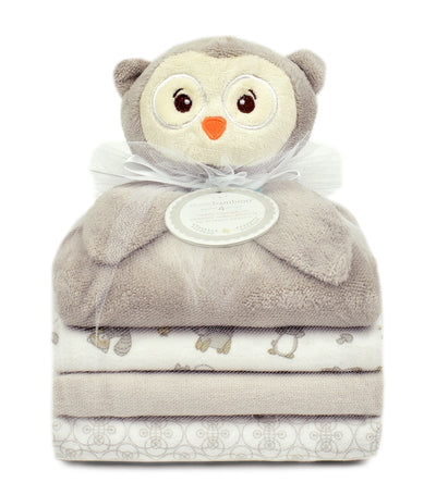 piccolo bambino gray owl cuddly pal and 3 blankets