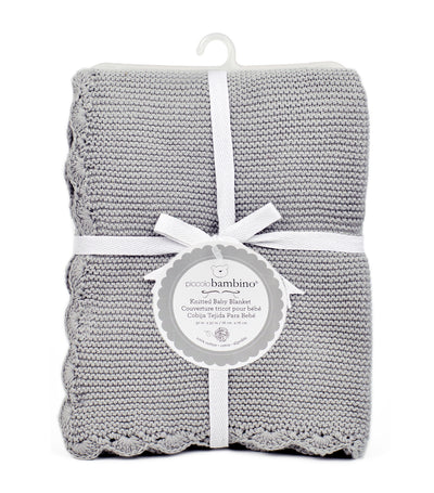 piccolo bambino knitted scalloped edge baby blanket gray