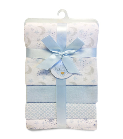 piccolo bambino flannel receiving blanket 4-piece blue