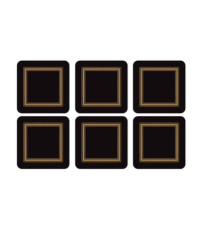 "pimpernel classic coasters set of 6 (4""x4"") - black"