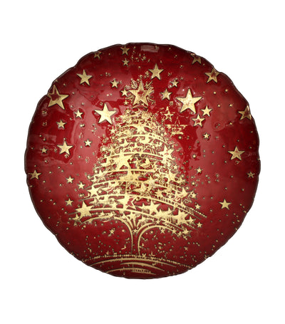 akcam christmas plate gold cromer red