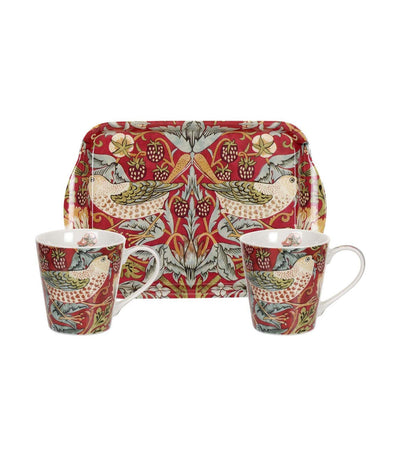 portmeirion morris and co for pimpernel strawberry thief red mug and tray set