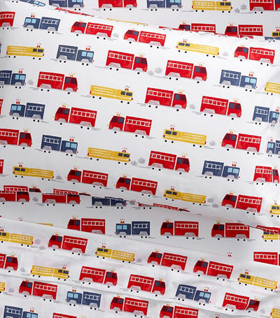 Pottery Barn Kids Organic Wyatt Firetruck Sheet Set