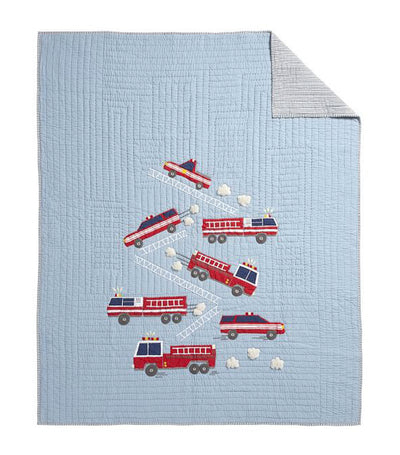 pottery barn kids wyatt fire truck quilt - twin
