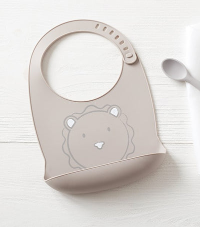 pottery barn kids silicone baby bib - lion