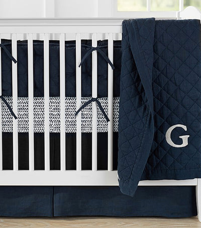 pottery barn kids navy belgian linen toddler quilt