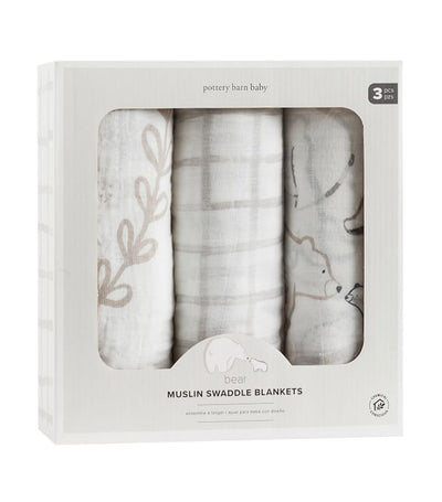 pottery barn kids bear muslin swaddle set