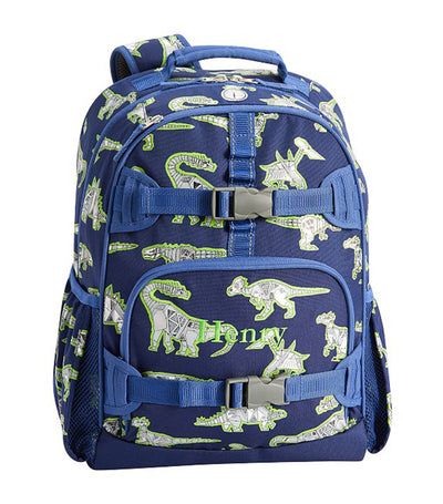 pottery barn kids blue mackenzie robo dino large backpack