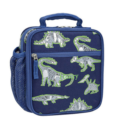 pottery barn kids blue mackenzie robo dino reflective classic lunch bag