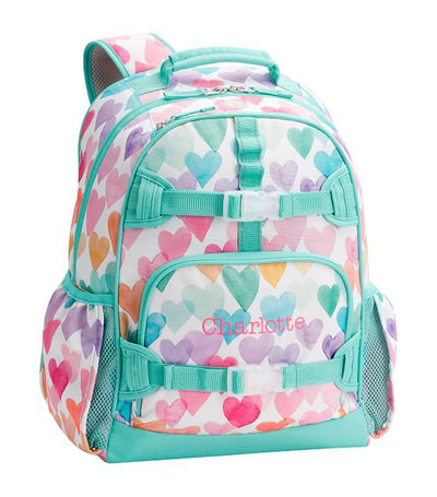pottery barn kids mackenzie rainbow hearts backpack large