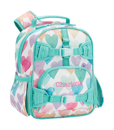 pottery barn kids mackenzie rainbow hearts backpack mini