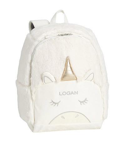 pottery barn kids white mackenzie unicorn fur critter backpack