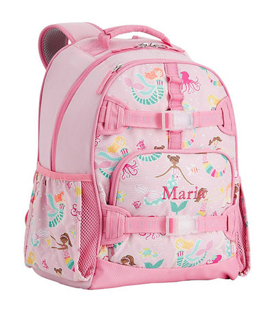 pottery barn kids pink mackenzie mermaid friends glow-in-the-dark backpack large
