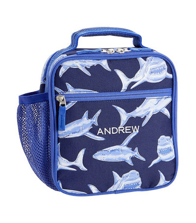 pottery barn kids blue mackenzie glow-in-the-dark sharks lunch bag