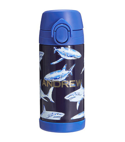 pottery barn kids blue mackenzie glow-in-the-dark sharks water bottle