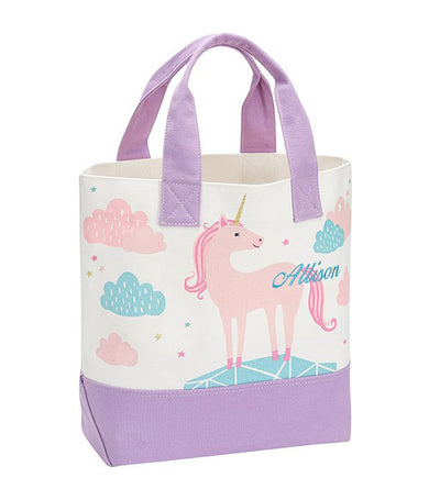 pottery barn kids lavender unicorn clouds tote