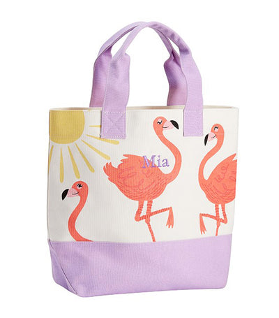 pottery barn kids lavender flamingo tote