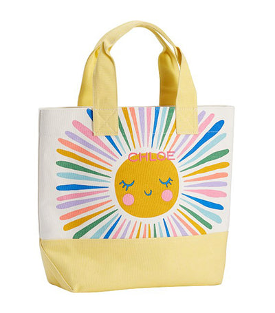pottery barn kids yellow rainbow sun tote