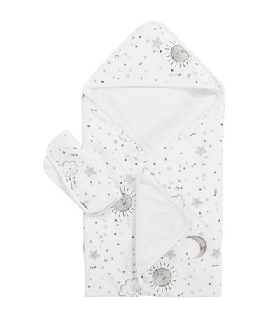 pottery barn kids skye muslin baby hooded towel and washcloth set