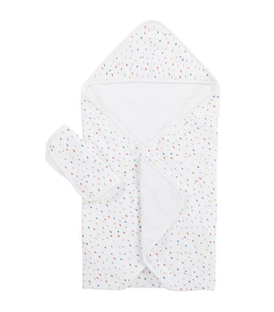 confetti dot muslin baby hooded towel and washcloth set