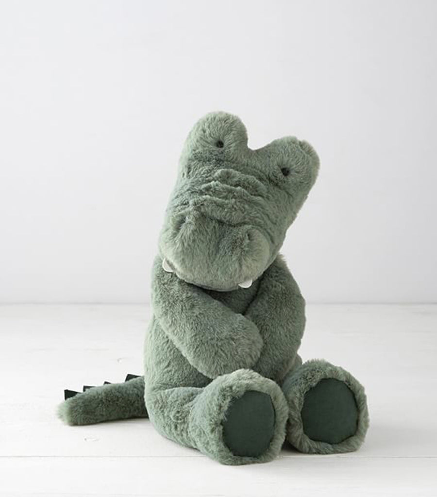 pottery barn kids green alligator plush toy small