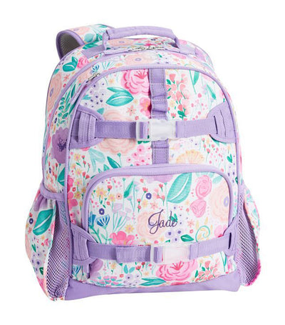 pottery barn kids mackenzie lavender floral blooms backpack - small
