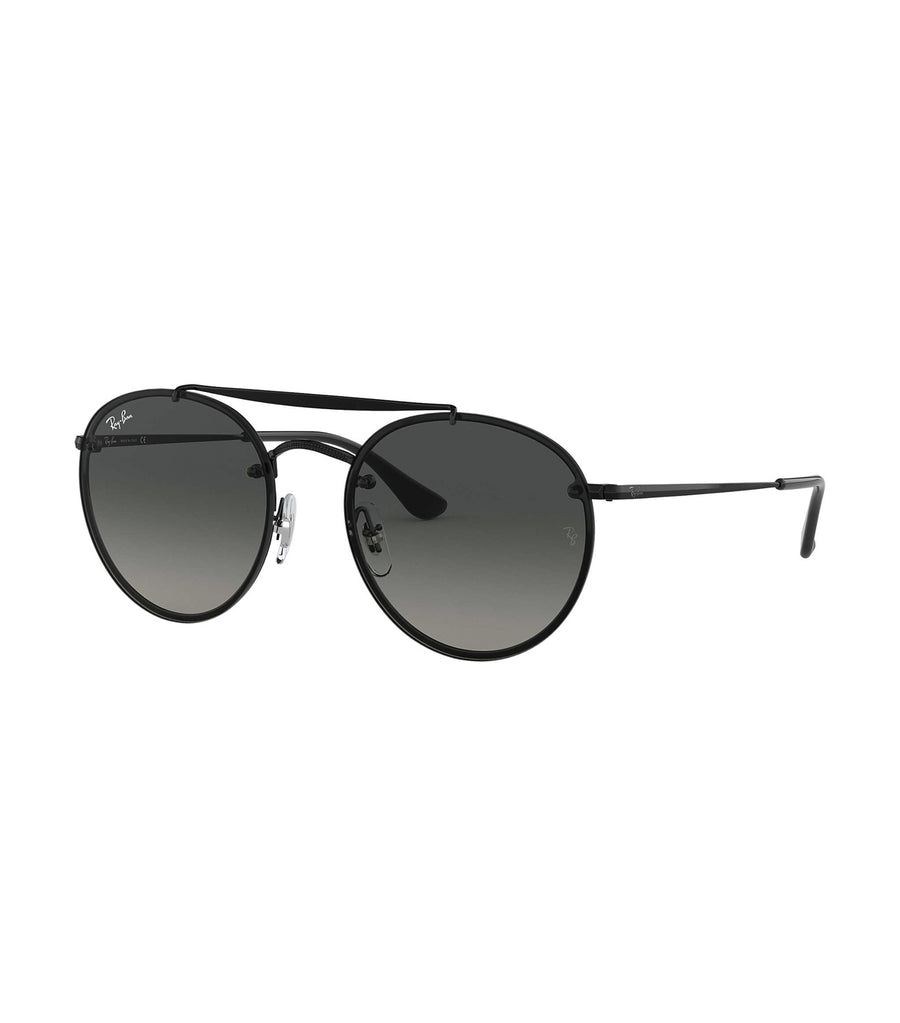 ray-ban blaze round double bridge sunglasses 54 gray gradient
