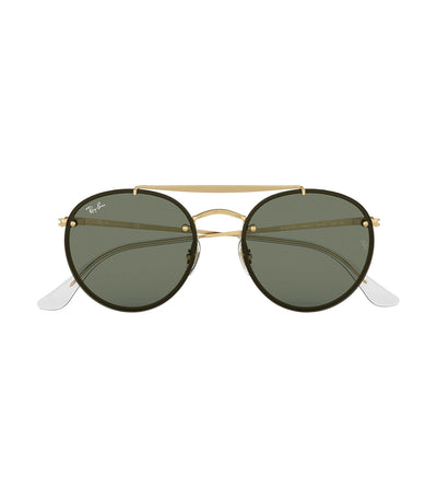 ray-ban blaze round double bridge sunglasses 54 green
