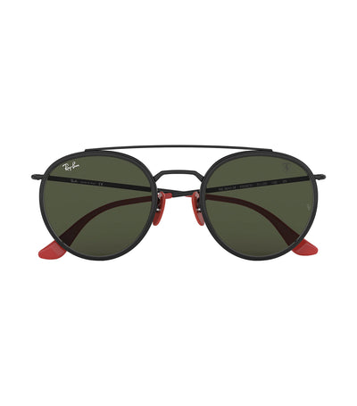 ray-ban ferrari round metal double bridge sunglasses 51 green