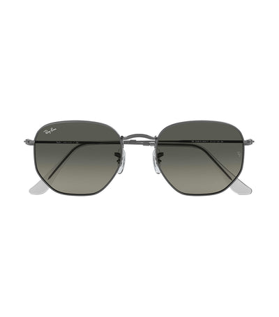 ray-ban hexagonal flat lens sunglasses gray gradient