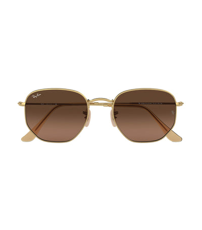 ray-ban hexagonal flat lens sunglasses brown gradient