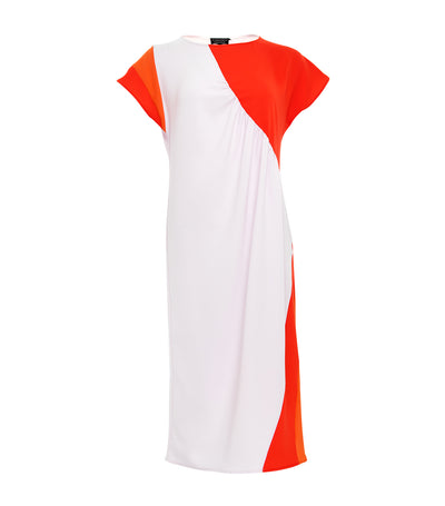 ricardo preto balsam color block shift dress orange and cherry