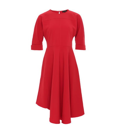 ricardo preto red dahlia asymmetrical dress