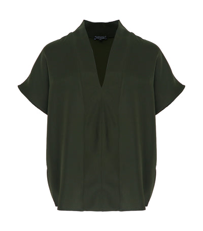 ricardo preto lily v-neck top posy green