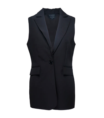 ricardo preto woman rue sleeveless blazer vest black