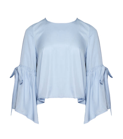 ricardo preto woman salvador flounce sleeves blouse light blue
