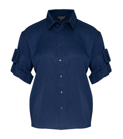 ricardo preto woman zelli short sleeve shirt estate blue