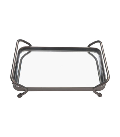 robely satin wire rectangular tray with mirror