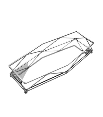 robely chrome wire rectangular tray with mirror