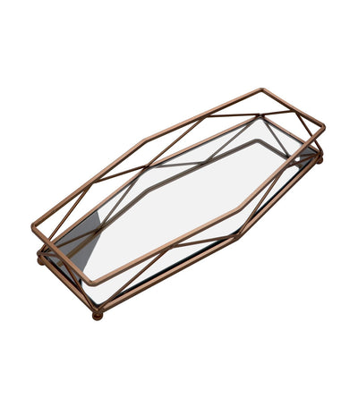 robely gold wire rectangular tray with mirror