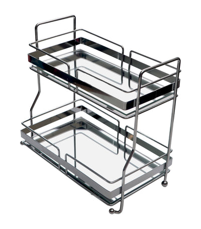 robely chrome wire rectangular two-tier tray with mirror