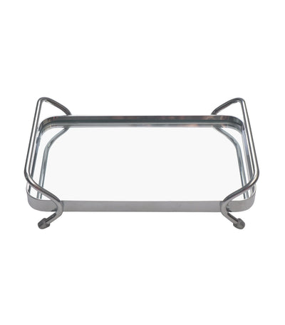robely chrome metal rectangular tray with mirror