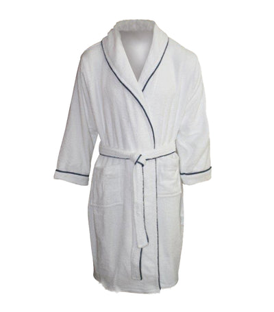 bloomsfield terry bathrobe - white/blue