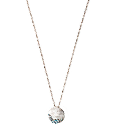 Sterling Silver Rhodium Plated Necklace Round Pendant with Blue Topaz