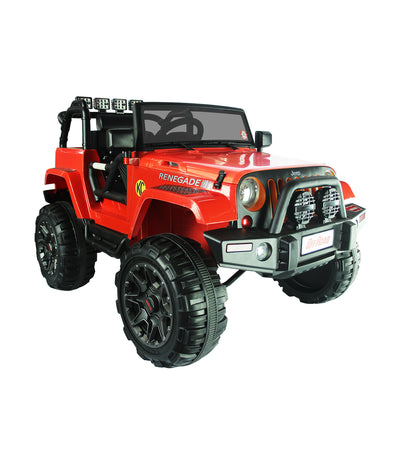 off-road red jeep with eva tire